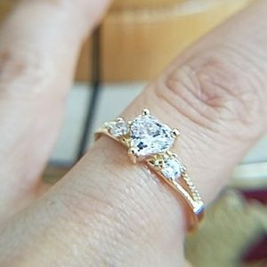 14k Yellow Gold Heart Engagement Promise Ring